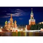 Puzzle  Castorland-101788 Der Rote Platz bei Nacht, Moskau