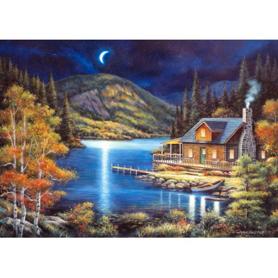 Puzzle Castorland-102990 Cottage im Mondschein