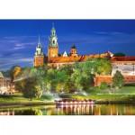 Puzzle  Castorland-103027 Königsschloss Wawel in der Nacht