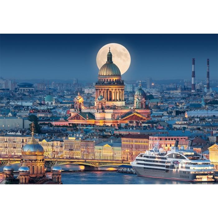 Vollmond über der Isaakskathedrale, Sankt Petersburg