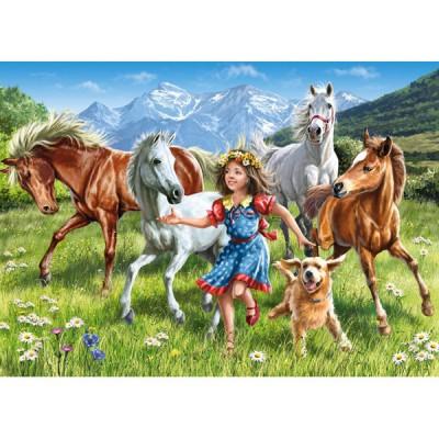 Puzzle Castorland-13029 Mädchen mit Pferden