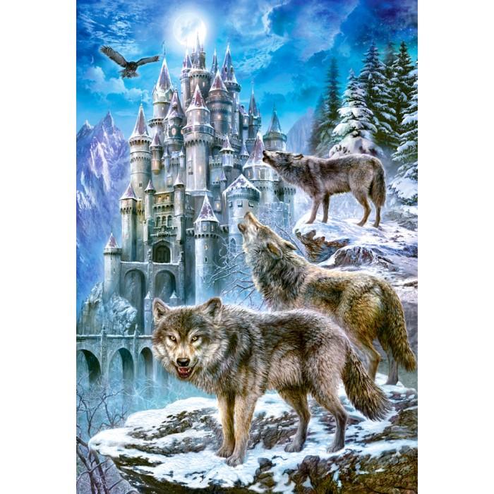 Wölfe vor dem Schloss