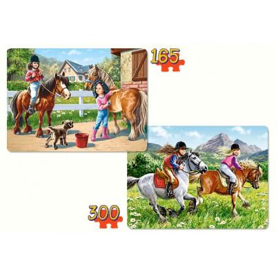 Puzzle Castorland-21079 Pferde reiten