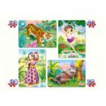 Castorland-4157-4331 4 Puzzles – Das Dschungelbuch