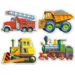 Castorland-4256 4 Mini-Puzzles: Baustelle, Feuerwehr und Lokomotive