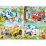 Castorland-4324 4 Puzzles - Lustige Fahrzeuge