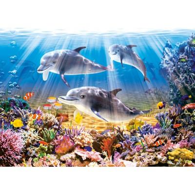 Puzzle Castorland-51014 Unterwasser Delfine