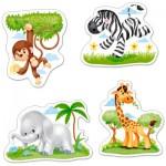 Castorland-B-005017 4 Puzzles mit extragroßen Teilen - Tiere Afrikas