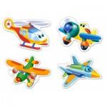 Castorland-B-005048 4 Puzzles mit extragroßen Teilen - Lustige Flugzeuge