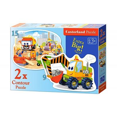 Castorland-B-020065 2 Formpuzzles - Baustelle und Baufahrzeuge