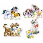Castorland-B-04218 4 Puzzles: Tiere und ihre Babys