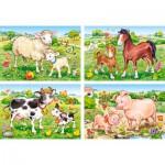 Castorland-B-04416 4 Puzzles - Bauernhoftiere
