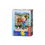 Puzzle  Castorland-B-06755 Spaziergang mit Pony und Welpe