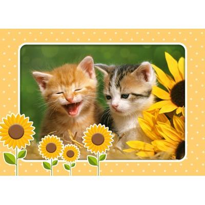 Puzzle Castorland-B-06779 Kätzchen unter Sonnenblumen