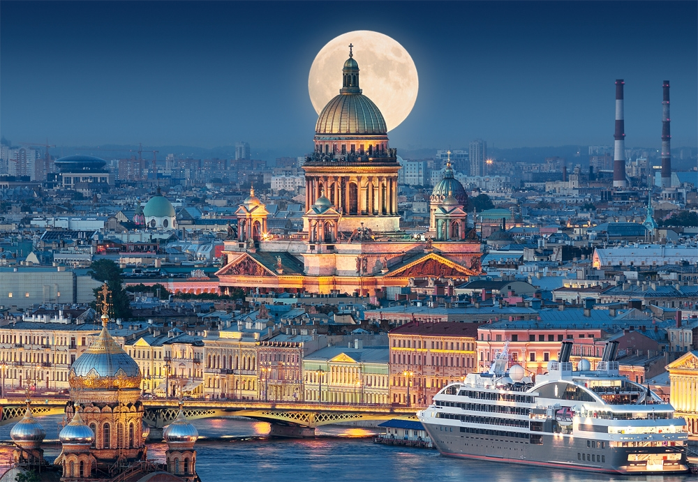 Fullmoon Over St Isaacs Cathedral Saint Petersburg 1000 Teile Castorland Puzzle on Picture Puzzle 11