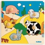 Puzzle  Djeco-DJ-01001 Holz Einbau - Gefärbte Farm