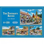 Gibsons-G5005 Puzzle 4 x 500 Teile - The Postman's Round