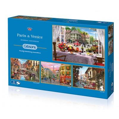 Gibsons-G5039 4 Puzzles - Dominic Davison: Paris & Venedig
