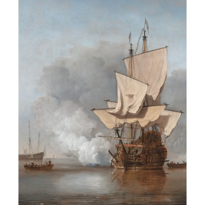 Puzzle PuzzelMan-385 Kollektion Rijksmuseum Amsterdam - Willem Van de Velde: Der Kanonenschlag