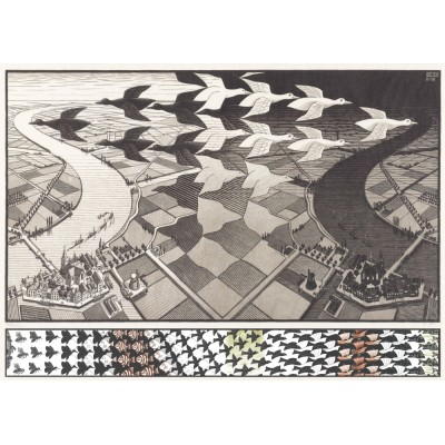 Puzzle PuzzelMan-829 MC Escher: Day and Night