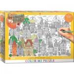 Puzzle  Eurographics-6033-0882 XXL Color Me - Stadthäuser