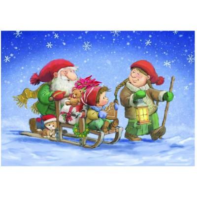 Puzzle Eurographics-6500-0353 Weihnachtsschlitten