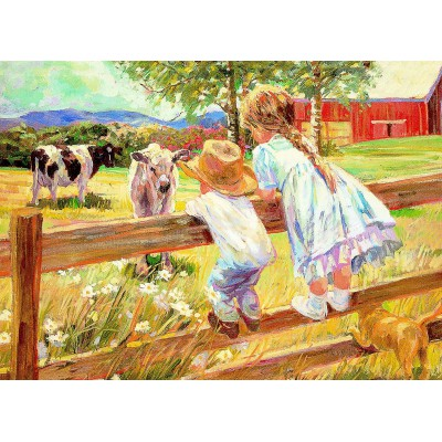 Puzzle Eurographics-8000-0450 Kinder auf dem Zaun
