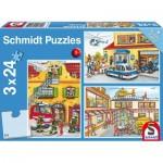 3 Puzzles - Feuerwehr und Polizei