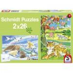 Schmidt-Spiele-55005 2 x 26 Teile Puzzle - Tierkinder