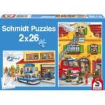 Puzzle  Schmidt-Spiele-55050 Feuerwehr und Polizei