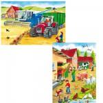 Schmidt-Spiele-55051 Puzzle 2 x 26 Teile - Auf dem Bauernhof