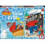 Schmidt-Spiele-55278 2 x 26 Teile Puzzle - Benjamin Blümchen als Lokomotivführer