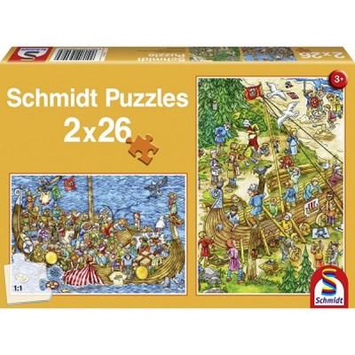 Schmidt-Spiele-56008 2 x 26 Teile Puzzle - Bei den Vikingern