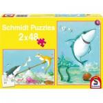 Schmidt-Spiele-56101 2 Puzzles: Der kleine weiße Hai