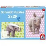 Schmidt-Spiele-56107 2 Puzzles: Zoo-Babys