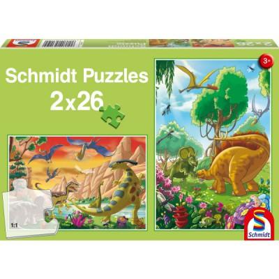 Puzzle Schmidt-Spiele-56119 Dinosaurierfreunde