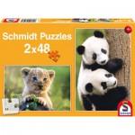 Schmidt-Spiele-56128 2 Puzzles - Süße Tierbabys