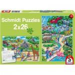 Schmidt-Spiele-56132 2 Puzzles - Ein Tag im Zoo