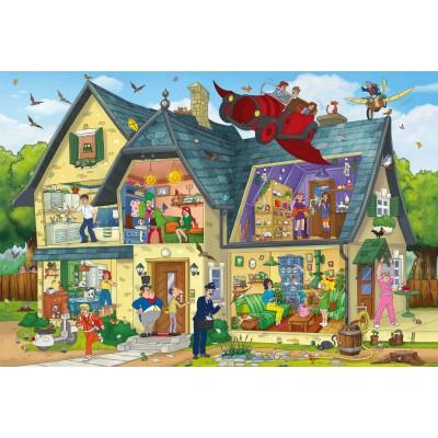 Puzzle Schmidt-Spiele-56151 Bibi Blocksberg, Bei Blocksbergs ist was los!