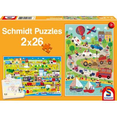 Schmidt-Spiele-56152 2 Puzzles - Bunte Welt der Fahrzeuge