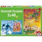 Schmidt-Spiele-56153 2 Puzzles - Wikinger