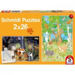 Schmidt-Spiele-56157 2 Puzzles - Waldtiere