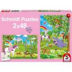 Schmidt-Spiele-56158 2 Puzzles - Prinzessin im Schlossgarten
