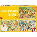 Schmidt-Spiele-56201 3 Puzzles - Ein Tag im Kindergarte