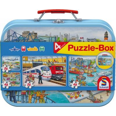 Schmidt-Spiele-56508 Metall Puzzlekoffer, Verkehrsmittel
