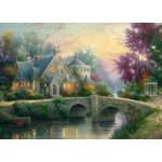 Puzzle  Schmidt-Spiele-57463 Thomas Kinkade: Abendstimmung