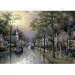 Puzzle  Schmidt-Spiele-58441 Thomas Kinkade: Morgen in der kleinen Stadt