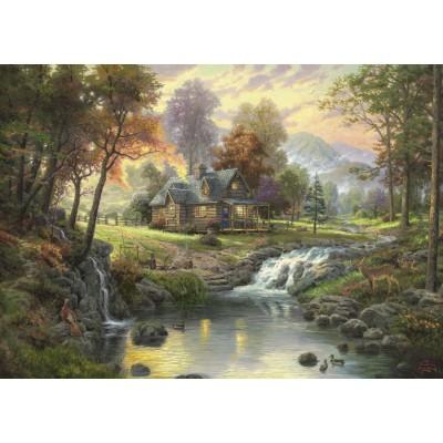 Puzzle Schmidt-Spiele-58445 Holzhaus am Bach