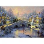 Puzzle  Schmidt-Spiele-58450 Thomas Kinkade: Winterliches Dorf