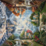 Puzzle  Schmidt-Spiele-59295 Thomas Kinkade: Die Kirche in den Bergen